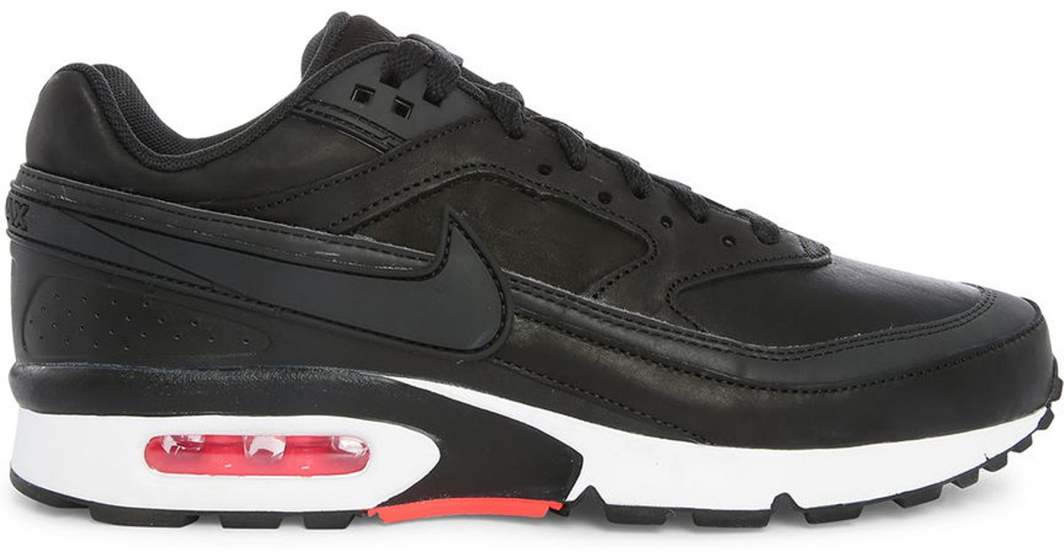 nike black air max bw premium leather sneakers in black for men lyst. Black Bedroom Furniture Sets. Home Design Ideas