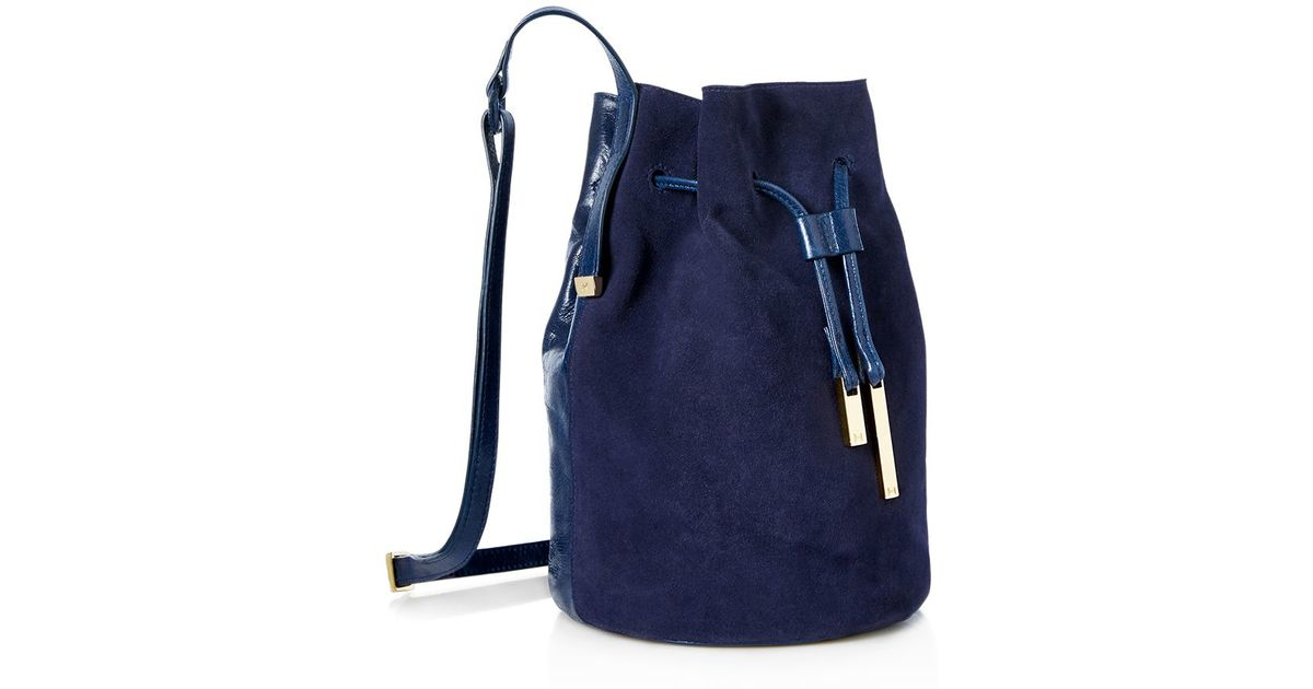 Halston Suede And Leather Bucket Bag in Blue | Lyst