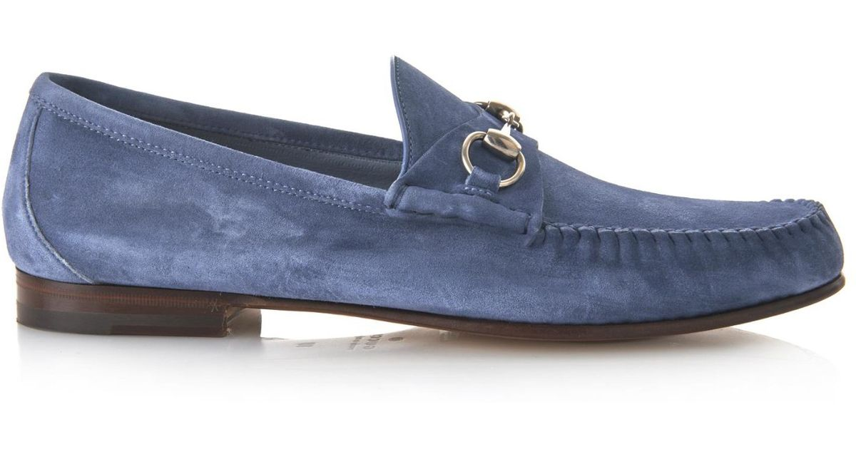 e29e2b93de6 Lyst - Gucci Roos Suede Loafers in Blue for Men
