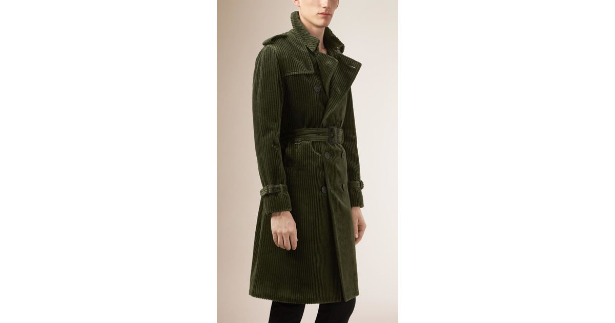 modern design classcic authorized site Burberry Green Corduroy Trench Coat for men