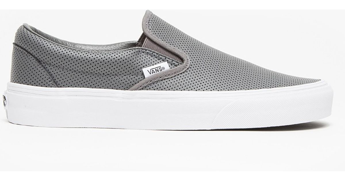 52ffb16545c Lyst - Vans Classic Slip-on Perf Leather in Gray