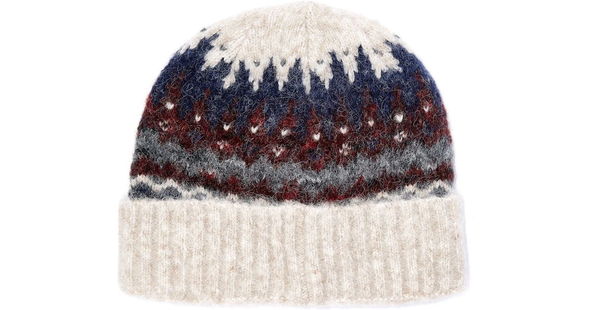 Lyst - Norse projects Cream Fairisle Alpaca-blend Beanie Hat in ...