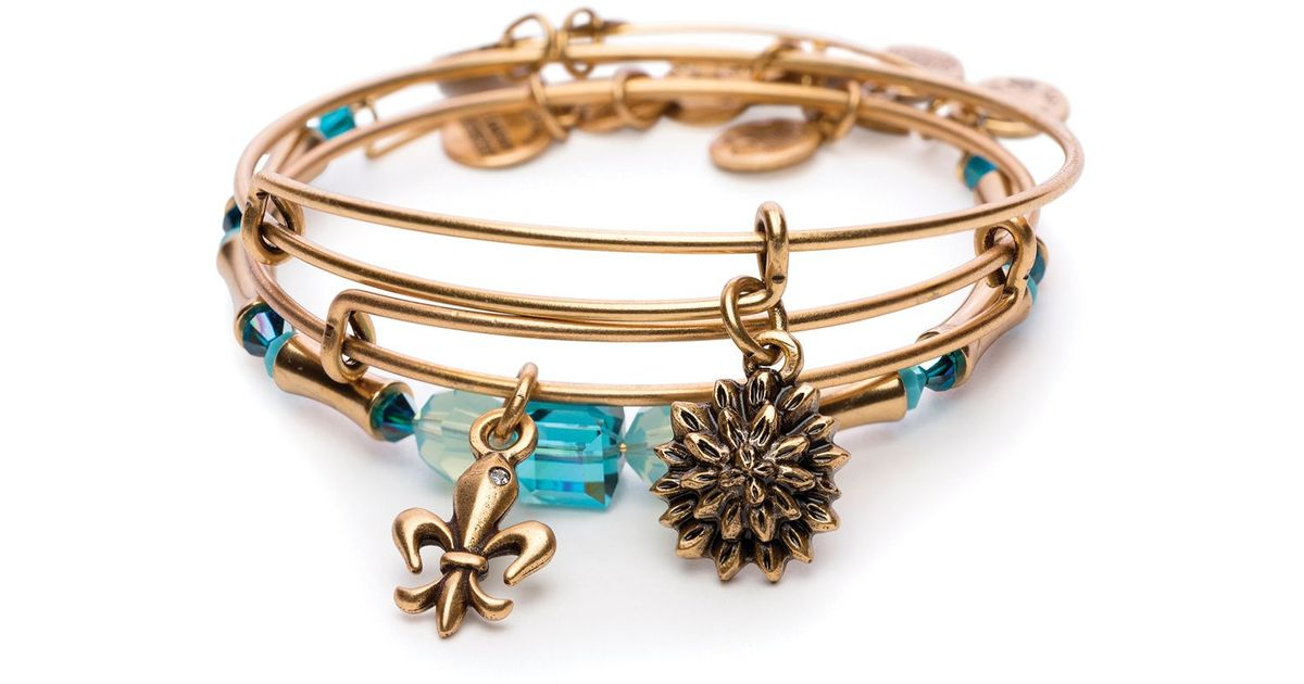 Lyst - Alex And Ani Strength In Full Bloom Set Of 3 Expandable ...