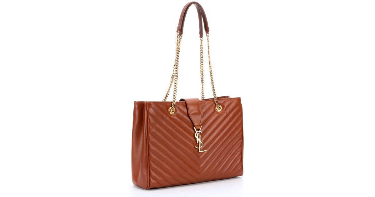 Saint Lau Tan Chevron Quilted Leather Ysl Shoulder Bag In Brown Lyst