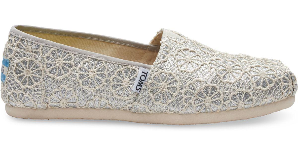Toms Paillettes Crochet D'argent Classique Des Femmes De Chaussures Espadrilles -3 CMusCVFb