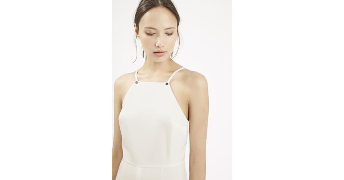 04017e22b0b Lyst - TOPSHOP Petite High Neck Jumpsuit in White