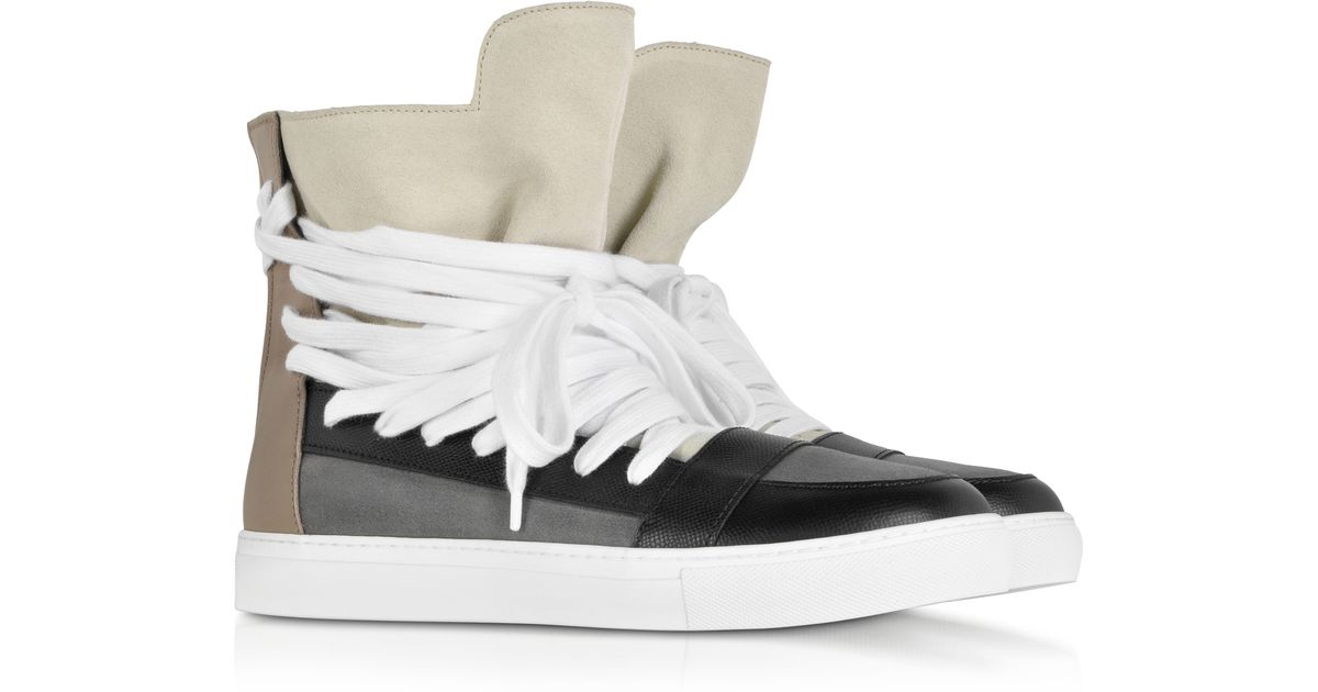 e9c41c1730 Lyst - Kris Van Assche Color Block Suede and Leather High Top Sneaker in  Gray for Men