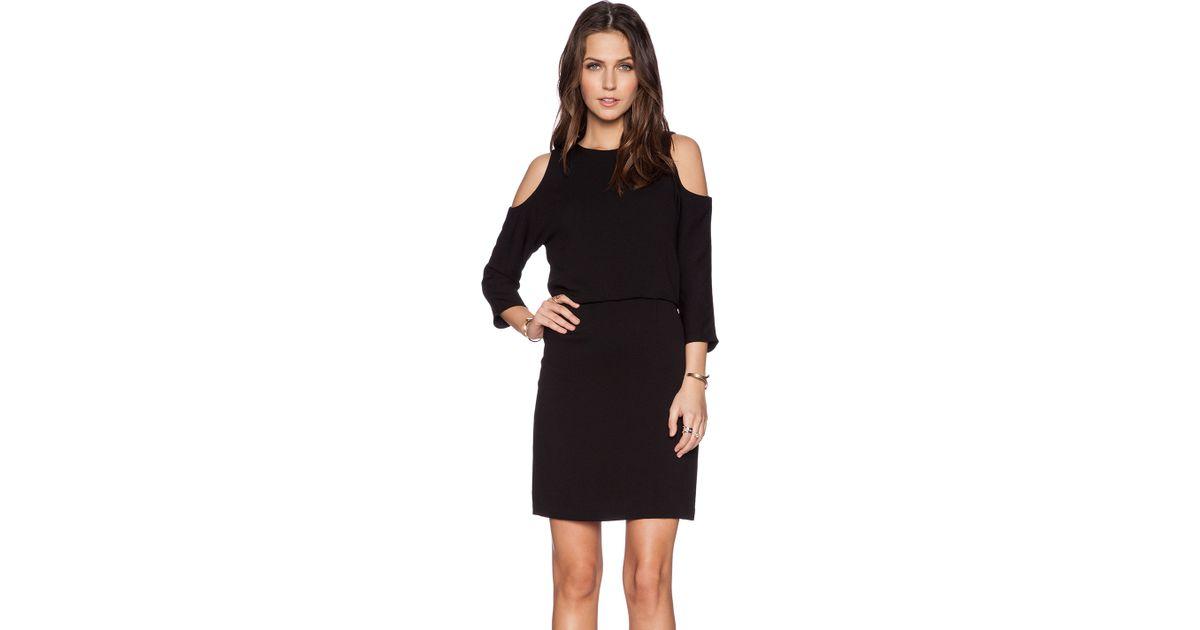 Lyst - Tibi Savanna Cut Out Shoulder Dress in Black 32112d57e