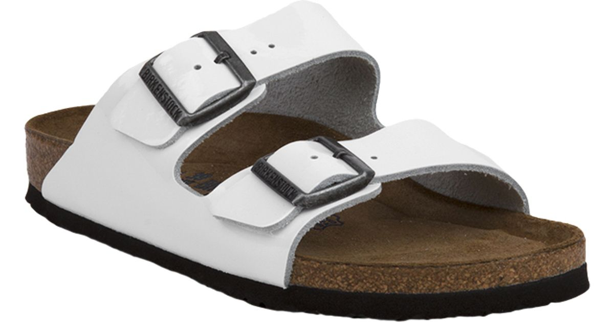 603c1c76388 Lyst - Birkenstock Arizona Soft Footbed Bright White Patent Leather Sandals  in White