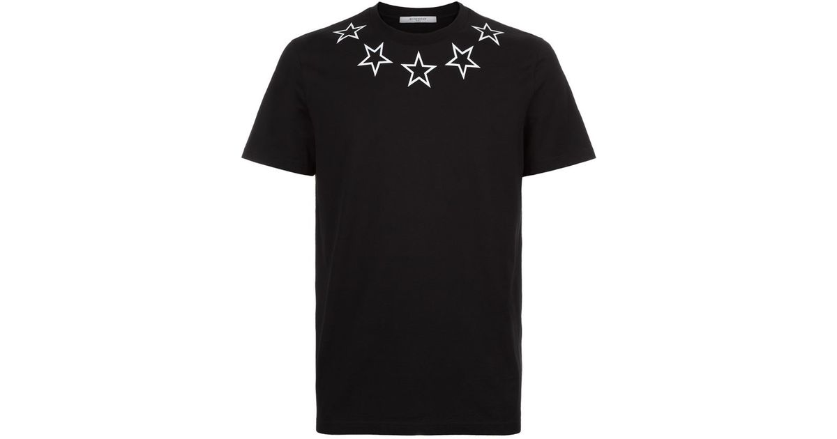 Givenchy star neck t shirt in black for men lyst for Givenchy 5 star shirt