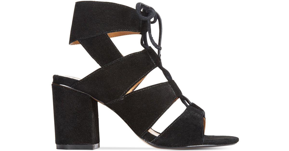 12b67eadf3b Lyst - Report Edolie Block Heel Lace-up Sandals in Black