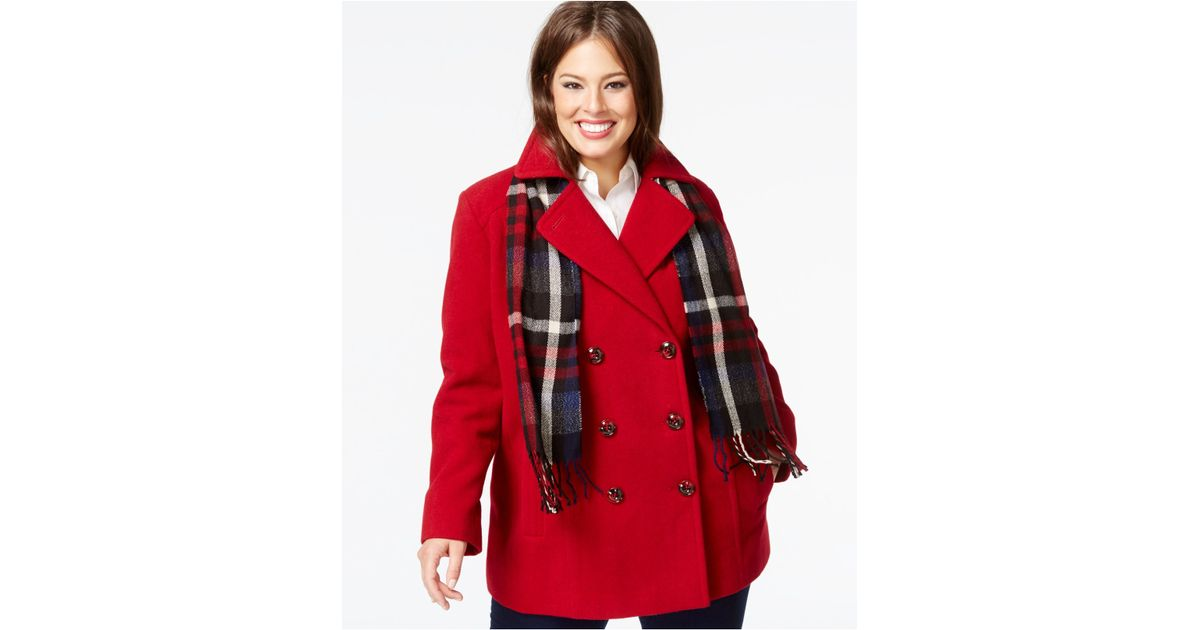 90374eac191e4 Lyst - London Fog Plus Size Double-breasted Peacoat With Plaid Scarf in Red