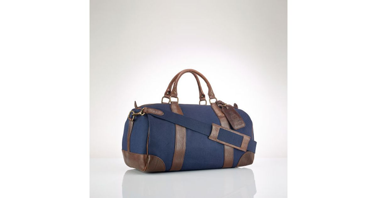 5bb67979810 Polo Ralph Lauren Canvas Leather Gym Bag in Blue for Men - Lyst