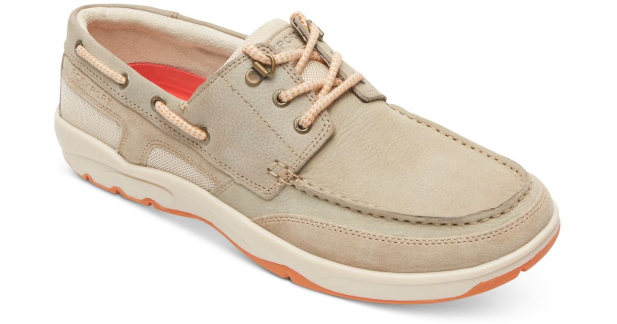 rockport s cshore bound 3 eye boat shoes in beige for