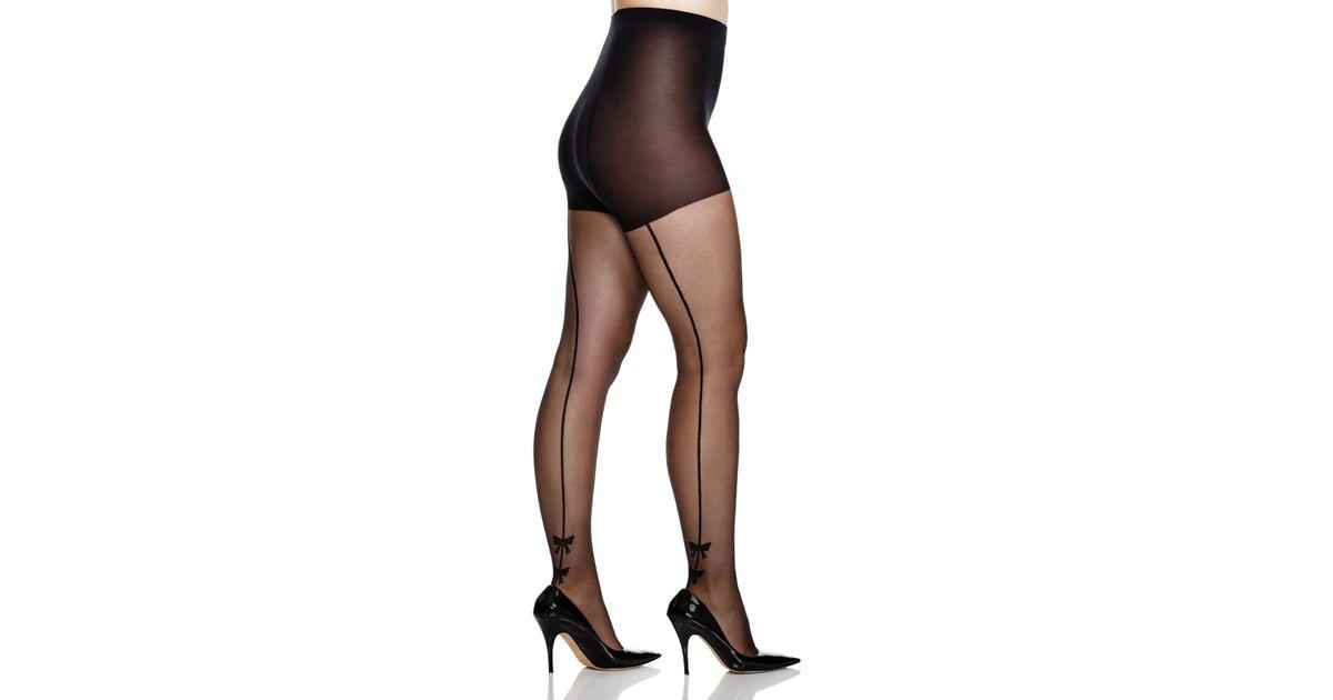 0012df4520317 Pretty Polly Curves Plus Bow Back Seam Tights in Black - Lyst