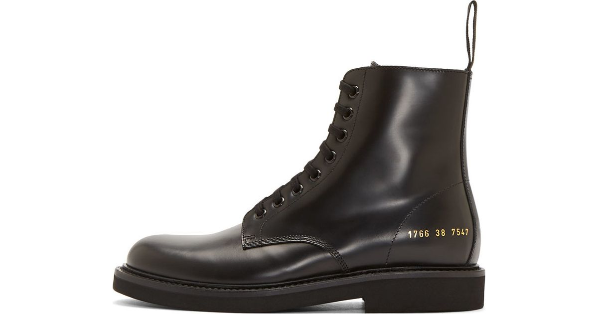 4da0ecdf93c21 Lyst - Common Projects Black Leather Combat Boots in Black for Men