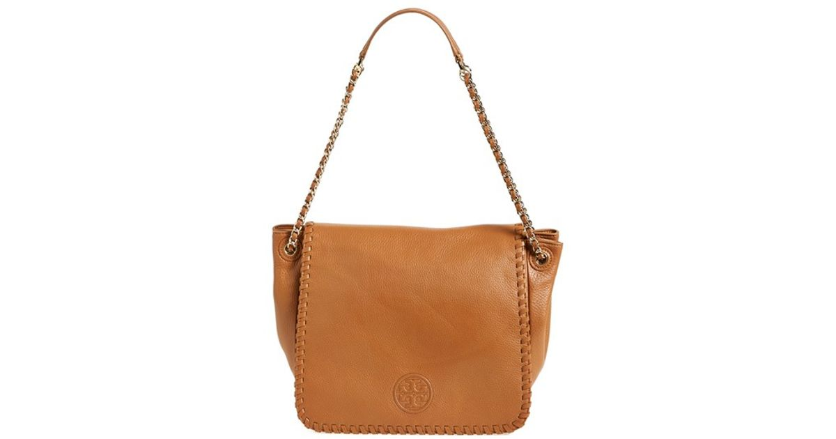 a89fdf95b42e Lyst - Tory Burch  marion  Flap Shoulder Bag in Brown