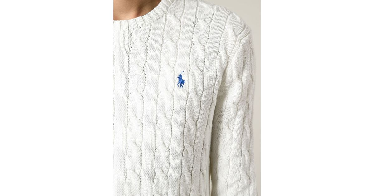 8cbca542bf4 Lyst - Polo Ralph Lauren Cable Knit Sweater in White for Men
