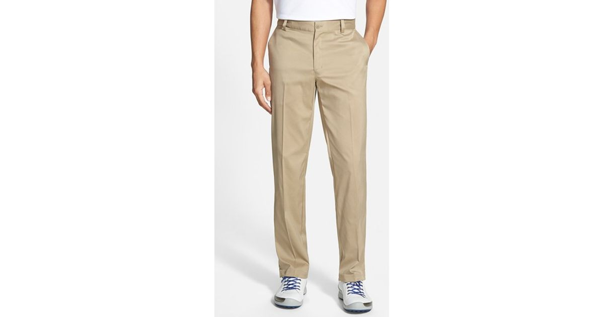 Nike flat front dri fit tech golf pants in white for men for Big tall nike golf shirts