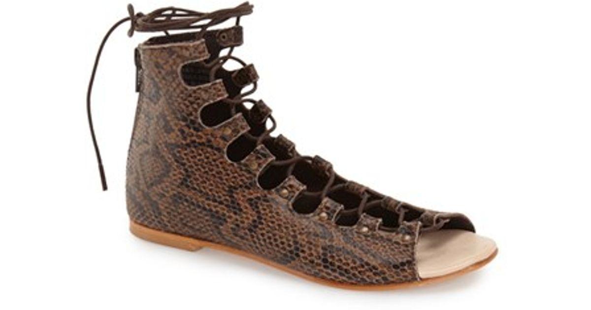 fbd31c86d48236 Lyst - Matisse Farrel Snake-Embossed Sandals in Brown