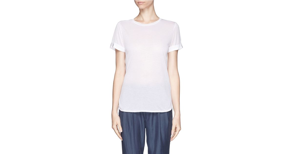 cc86fb3775626 Lyst - Vince Silk Crew-neck Tee in White