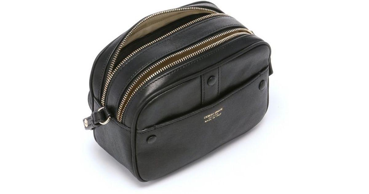 413d1fe3176 Giorgio Armani Black Leather Mini Camera Case Shoulder Bag in Black - Lyst