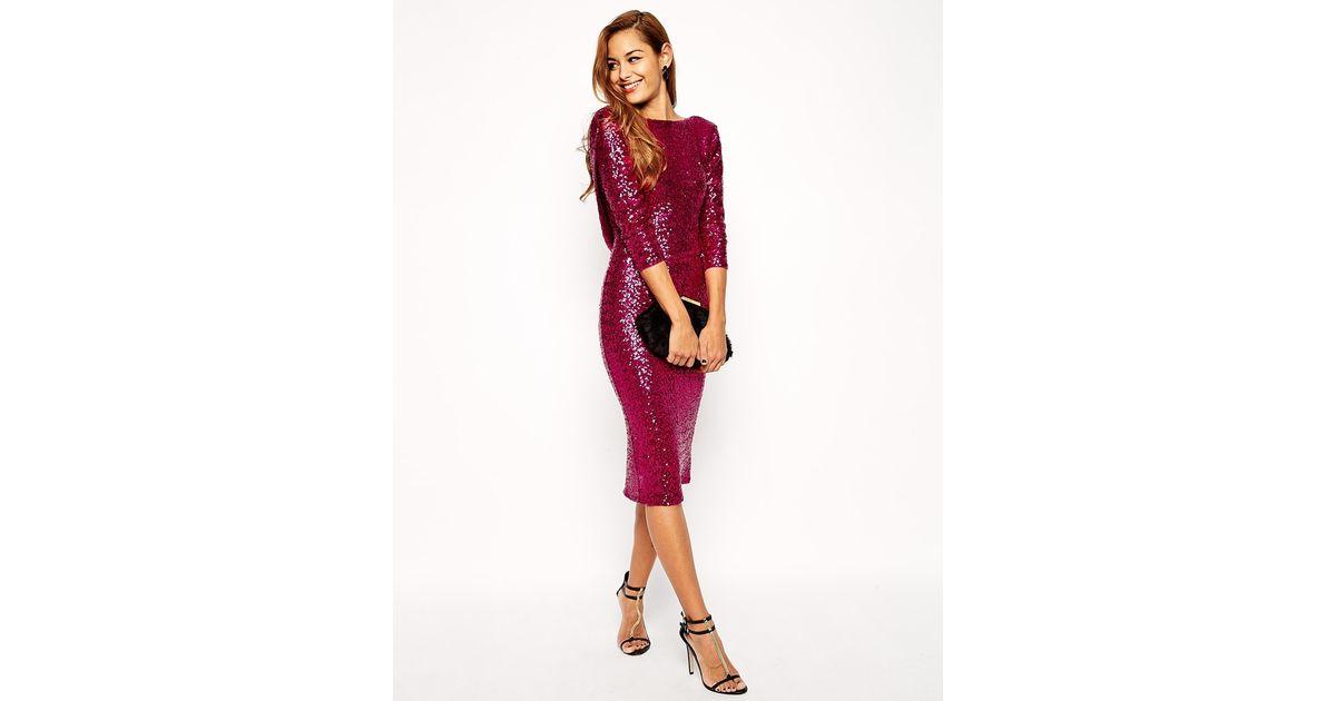 ed594ff51d2b ASOS Sequin Cowl Back Midi Dress in Pink - Lyst