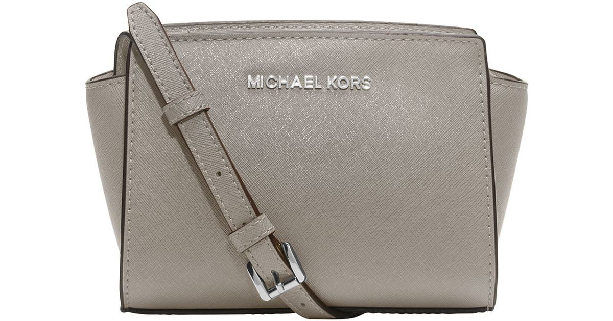 ae0e00c7457f9a Lyst - MICHAEL Michael Kors Selma Leather Mini Messenger Bag in Gray