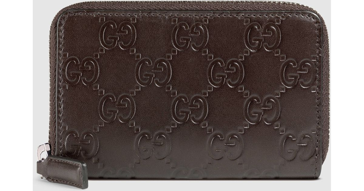 fc69a1b85c9 Lyst - Gucci Signature Zip Around Card Case in Black for Men