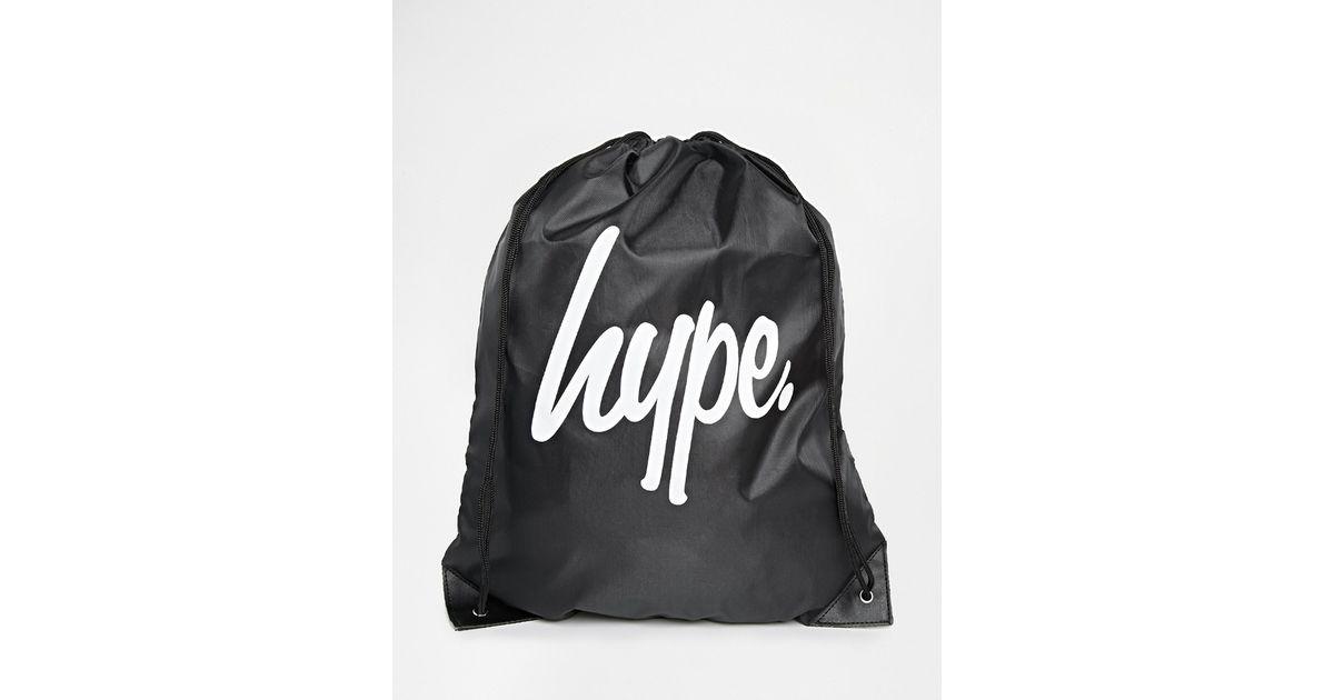 Lyst - Hype Logo Drawstring Backpack in Black for Men 92b9207fa79e6