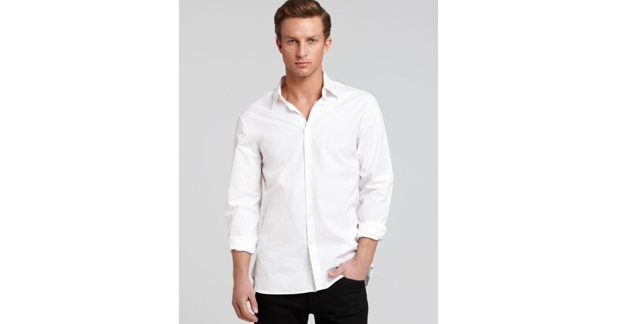 John varvatos collection solid button down shirt slim for Slim fit white button down shirt