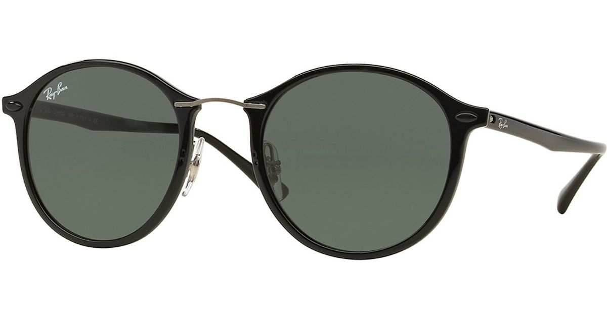 ray ban round plastic metal sunglasses in natural havana lyst. Black Bedroom Furniture Sets. Home Design Ideas