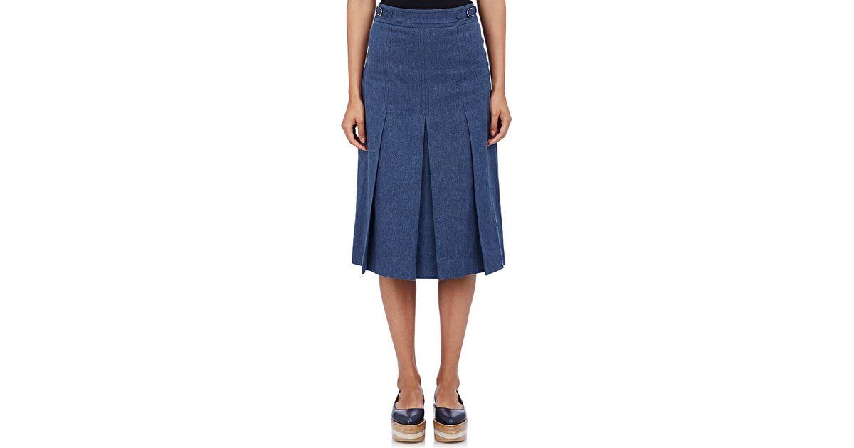 gabriela hearst denim pleated skirt in blue lyst