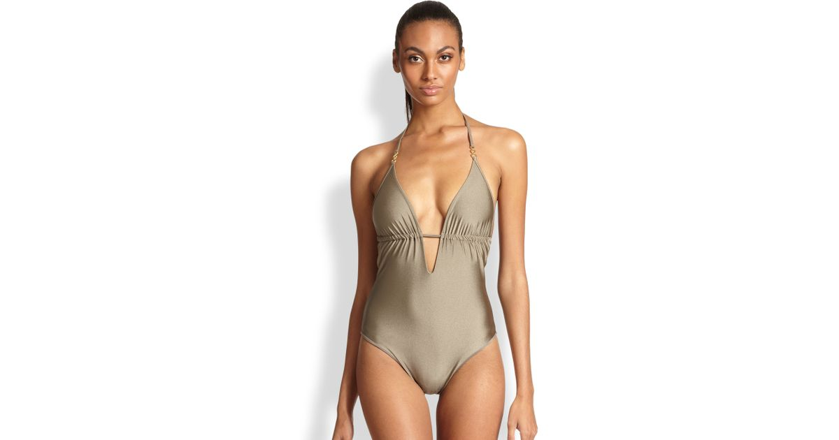 ecf38a3a82a93 Elizabeth Hurley Beach One-Piece Laura Swimsuit in Metallic - Lyst