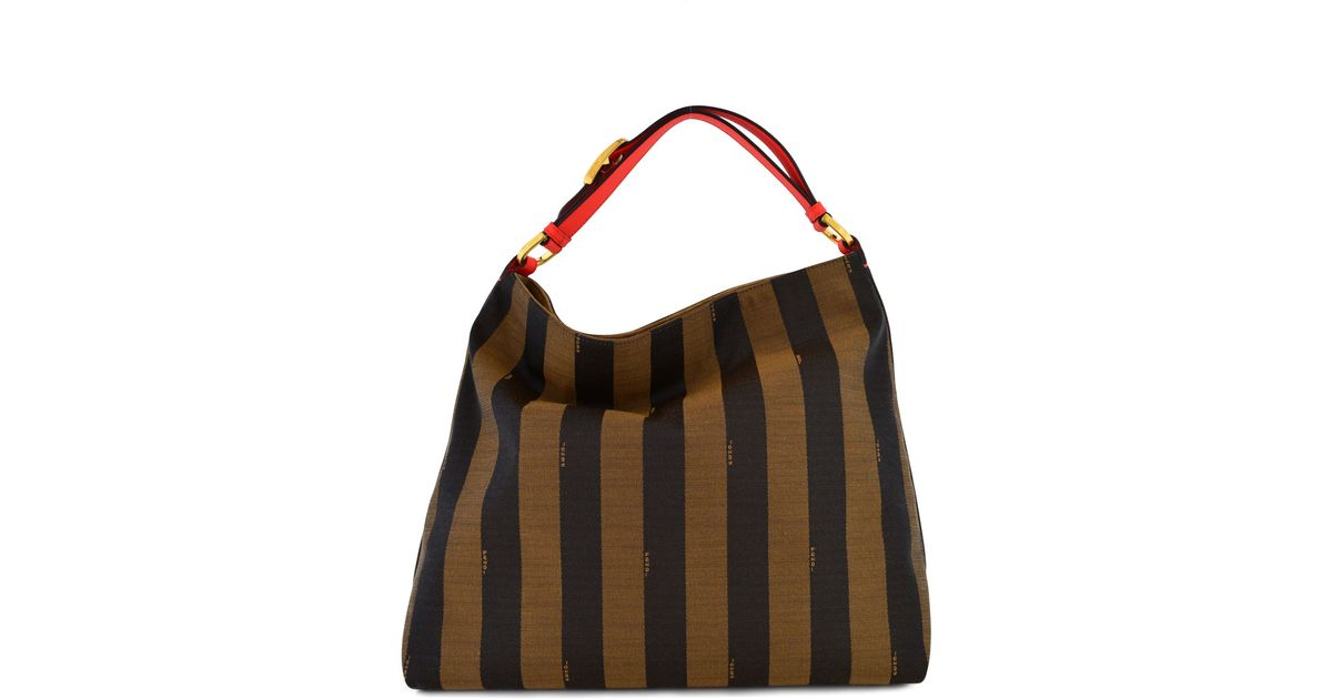 Lyst - Fendi Pequin Stripe and Poppy Borsa Hobo Bag in Brown 619db8e9992