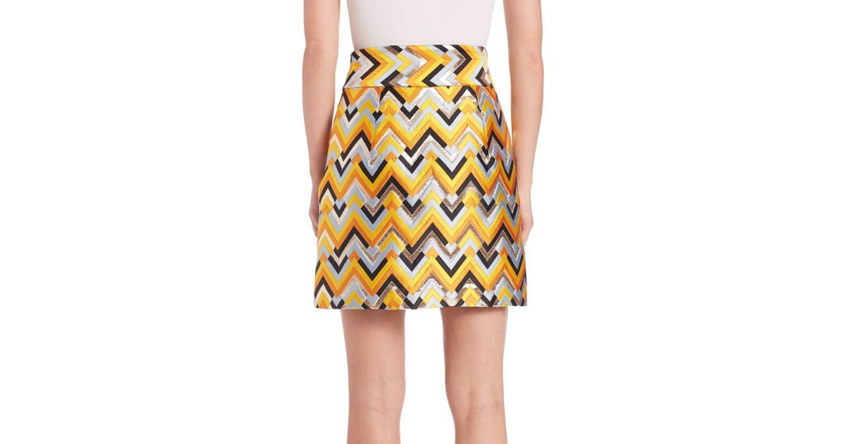 milly chevron brocade a line skirt in yellow lyst