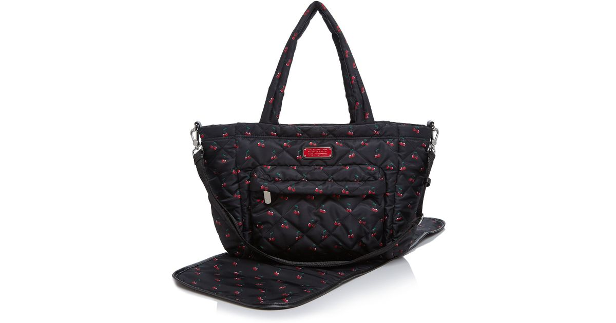 Lyst Marc By Jacobs Crosby Quilted Cherry Print Elizababy Diaper Bag In Black