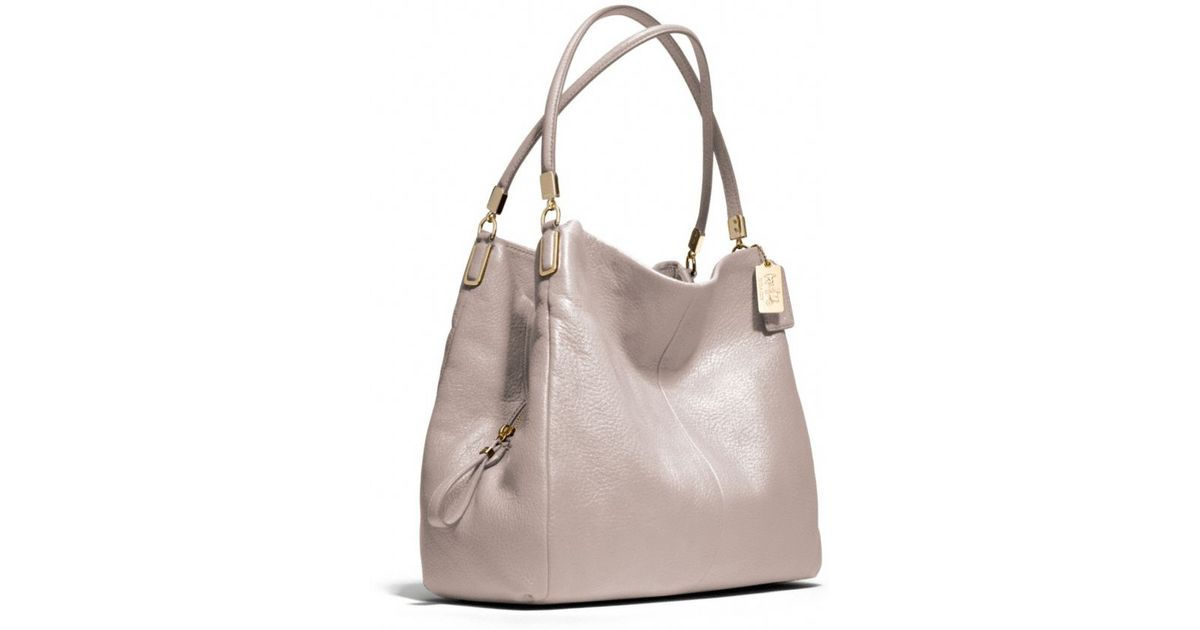414d8d1e95 Lyst - COACH Madison Small Phoebe Shoulder Bag in Leather in Gray