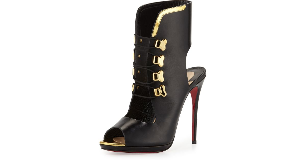 Christian louboutin Troubida Lace-Front Pumps in Black (BLACK/GOLD ...