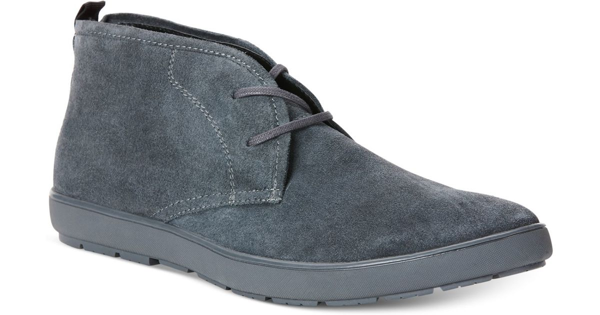 calvin klein nowles suede chukka boots in gray for