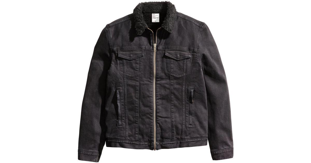 H Amp M Pile Lined Denim Jacket In Black For Men Lyst