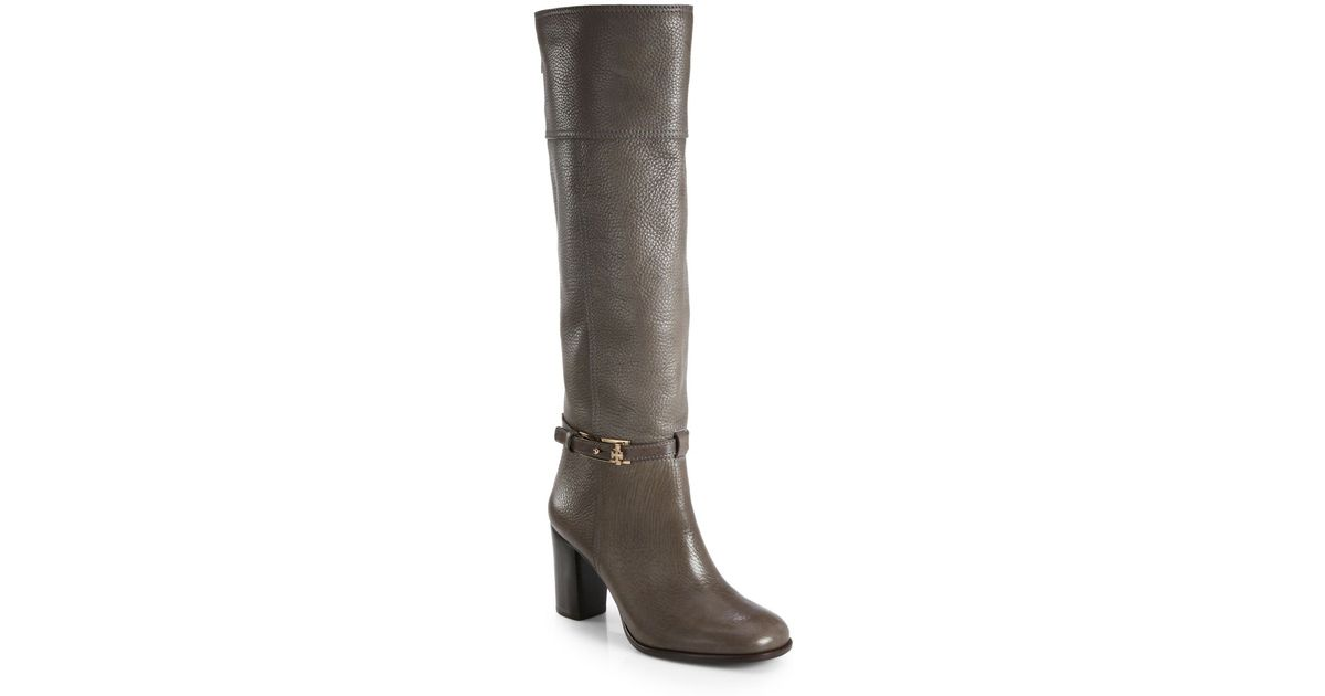 4d499460ae3b Lyst - Tory Burch Jenna Leather Knee High Boots in Gray