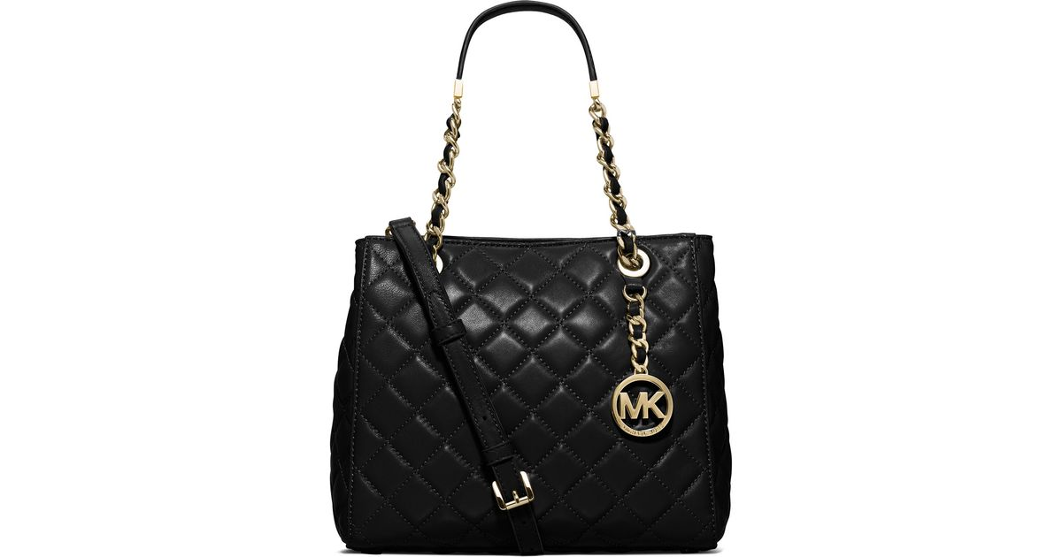 d55bcb3ef53c Lyst - MICHAEL Michael Kors Susannah Small Quilted Tote Bag in Black