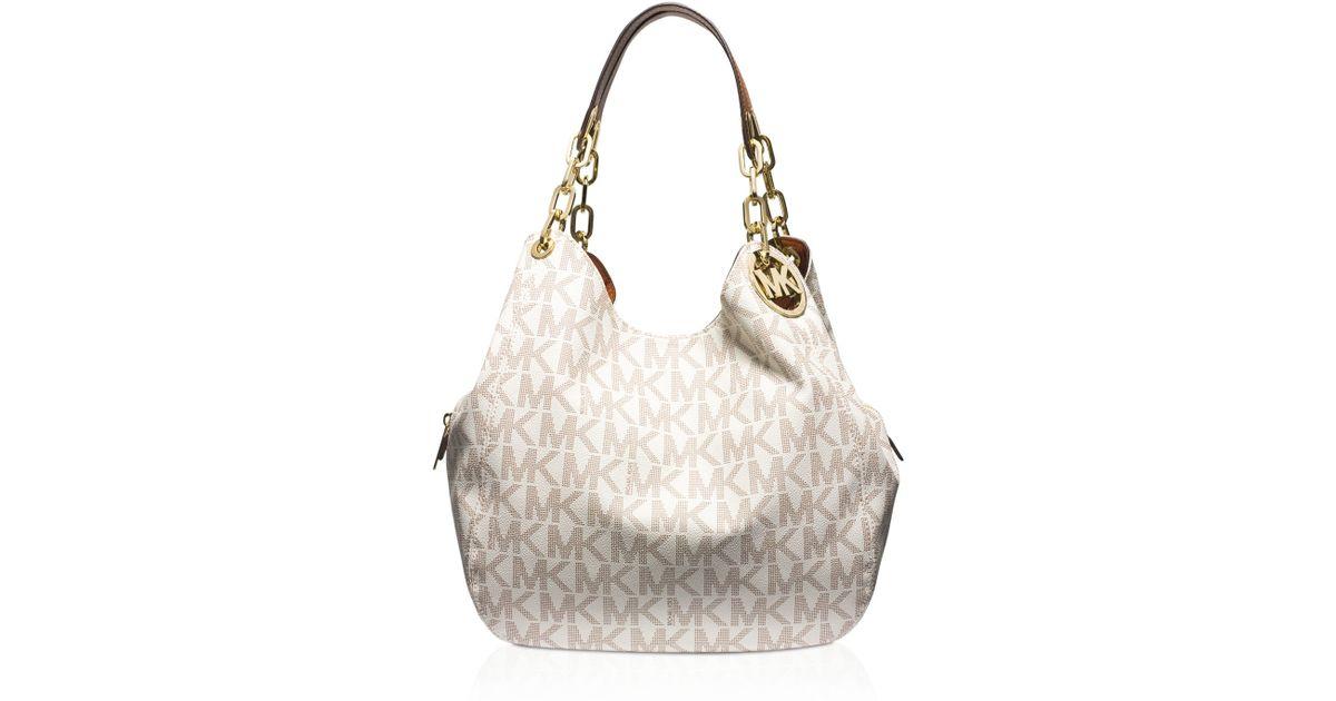 Lyst Michael Kors Large Fulton Signature Logo Shoulder Bag In Gray