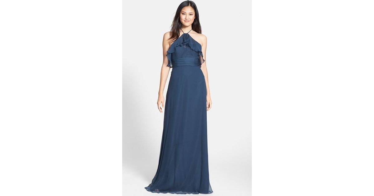 Lyst - Amsale Ruffled Silk-Chiffon Gown in Blue