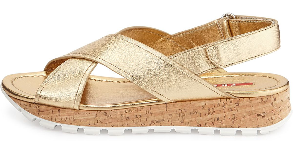 00e594dae44 Lyst prada criss cross cork platform sandal in metallic jpeg 1200x630 Gold  flat platform sandals