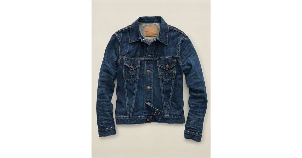 605ccbfc08 Lyst - RRL Washed Denim Jacket in Blue for Men