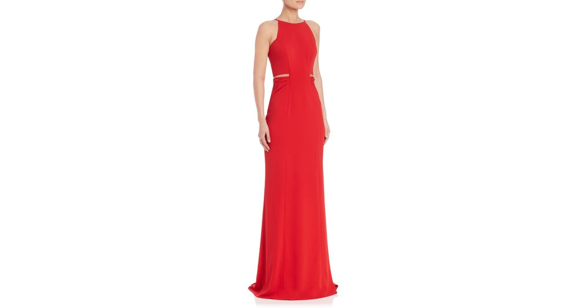 Lyst - Badgley Mischka Cutout-detail Gown in Red