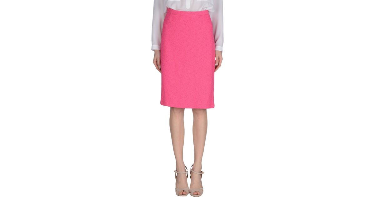 boutique moschino knee length skirt in pink lyst