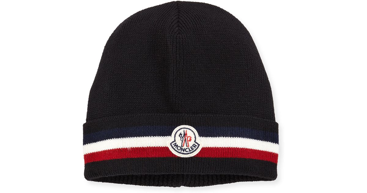 a382c41e8fb Lyst - Moncler Striped Logo Cashmere Beanie Hat in Black for Men